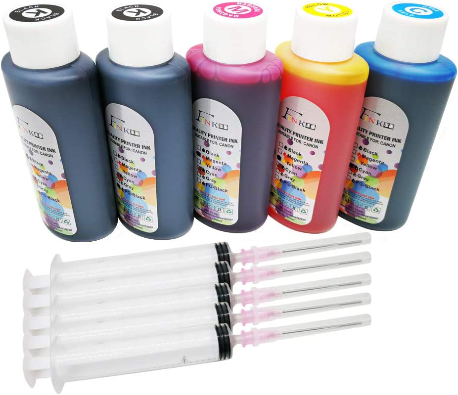 Fink 5x100ml Bottle Ink Refill Kits Compatible for Hp Inkjet Ink Cartridges-2 Black 1 Cyan 1 Magenta 1 Yellow and 4 Syringes