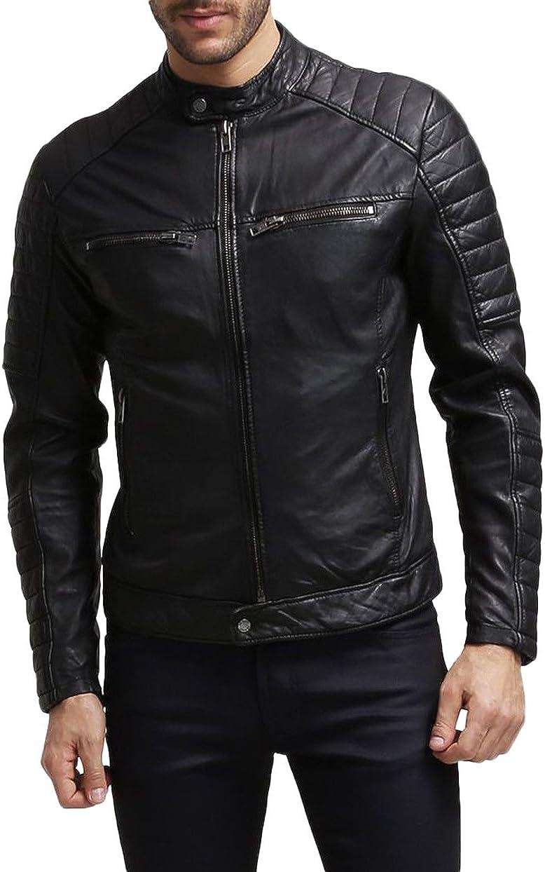 Mens Leather Jacket Slim Fit Biker Motorcycle Genuine Lambskin Jacket Coat T1419