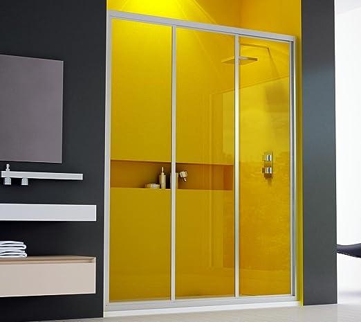 Mampara de ducha, 3 puertas correderas, 120 cm, cristal ...