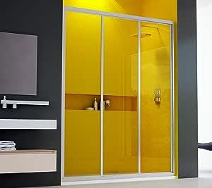 Mampara de ducha, 3 puertas correderas, 115 cm en cristal ...