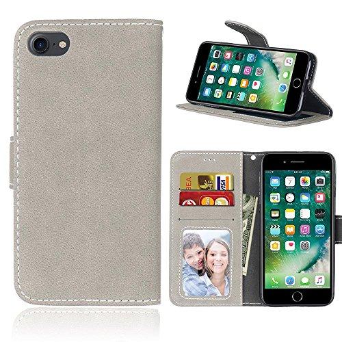 Hülle für iPhone 7 ,Schutzhülle Für IPhone 7, Solid Color Premium PU Ledertasche Deckel Mattglas Flip Stand Fall Großhandel Fall mit Kartensteckplatz Fotorahmen für Apple IPhone 7 ,cover für apple iPh