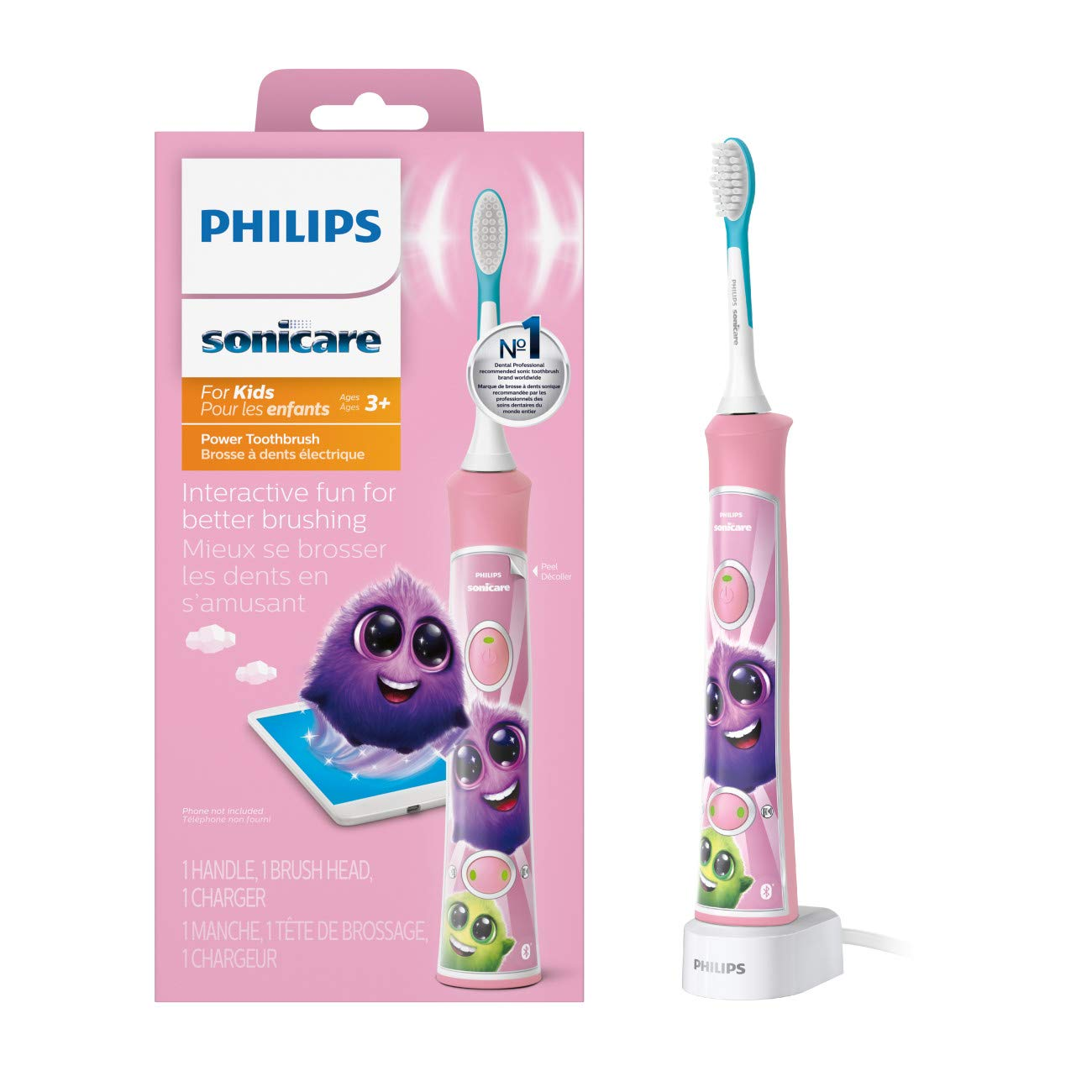 Philips Sonicare for Kids Rechargeable Electric Toothbrush, Pink HX6351/41 by Philips Sonicare