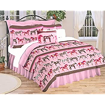 Girls Pink WESTERN HORSE Bedding Mustang Flower PONY Comforter  66  x 86. Amazon com  5pc Girl Pink Purple Horse Pony Twin Comforter Set