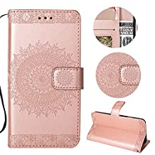 Stysen Galaxy A6 Plus 2018 Wallet Case,Galaxy A6 Plus 2018 Floral Case,Pretty Elegant Embossed Totem Flower Pattern Rose Gold Bookstyle Magnetic Closure Pu Leather Wallet Flip Case Cover with Wrist Strap and Stand Function for Samsung Galaxy A6 Plus 2018-Totem Flower,Rose Gold