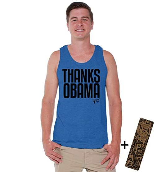 75899e58e39db5 Awkwardstyles Men s Thanks Obama Tank Top Black Political Tank + Bookmark S  Blue