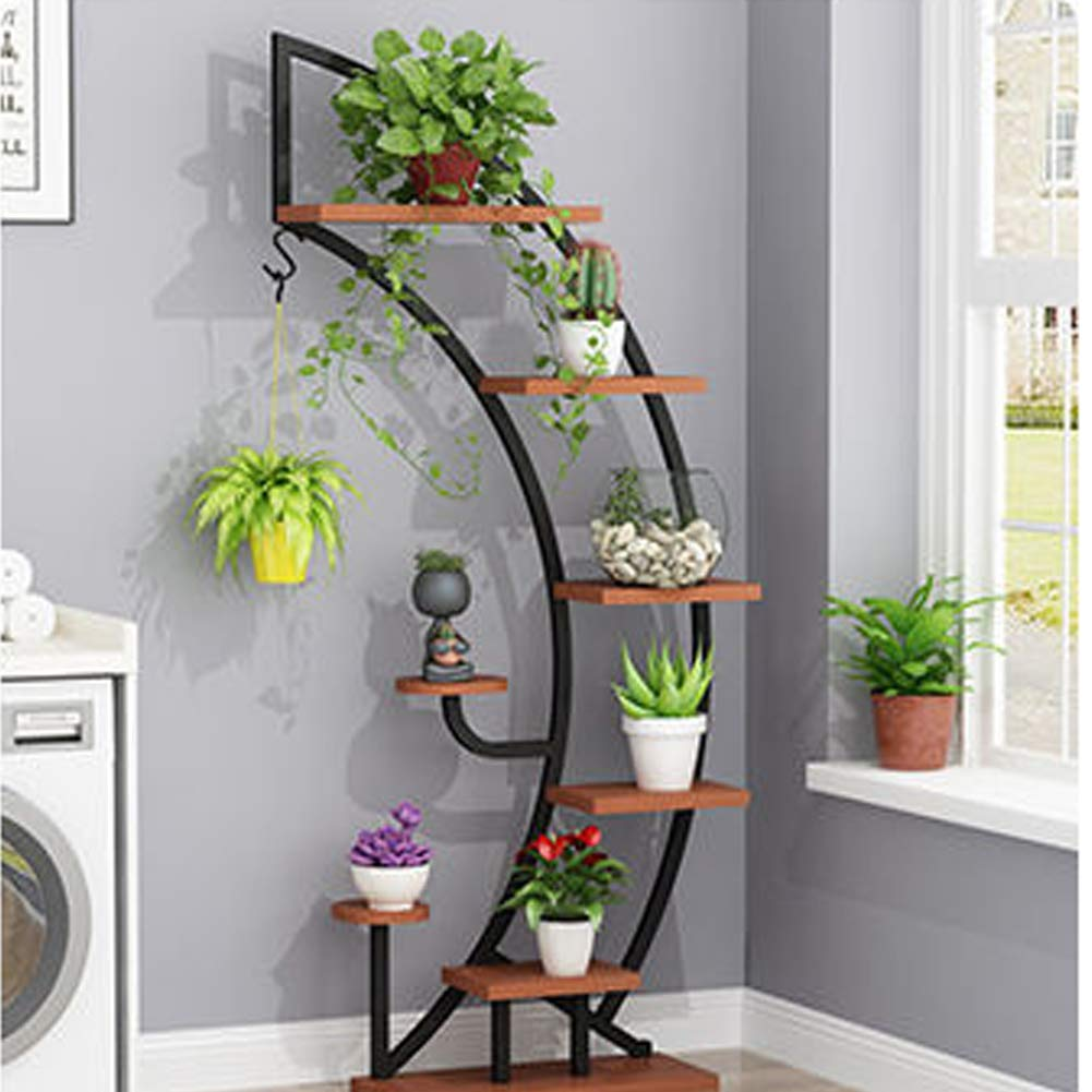 Large Creative Curved Steel Plant Stand, Multipurpose Display Stand for Flowers/Books/Bonsai, Indoor/Outdoor Bonsai Display Shelf for Living Room/Bedroom/Balcony/Patio/Garden/Yard (Bowed, Black)