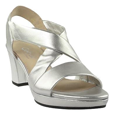 Gabor Plateausandalette Damen Silber Schuhe Sandalen
