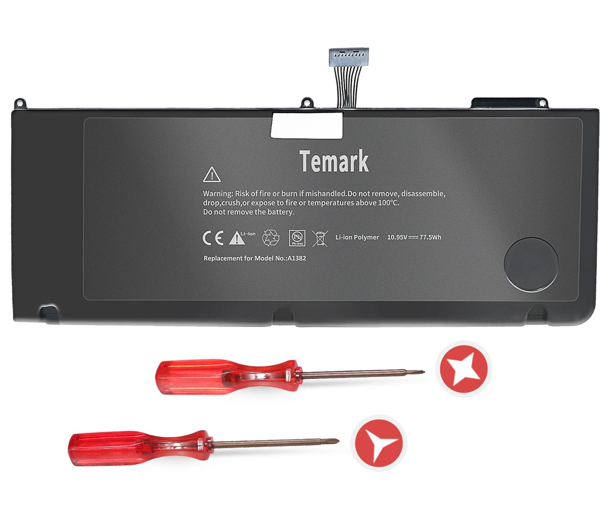 Temark New A1382 Battery for MacBook Pro 15 inch A1286 (only for Early 2011, Late 2011, Mid 2012), fit MC721LL/A MC723LL/A 661-5844 020-7134-A