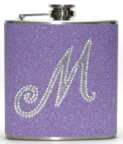 (Lavender Personalized Rhinestone Glitter 6 oz Liquor Hip Flask Flasks Gift)