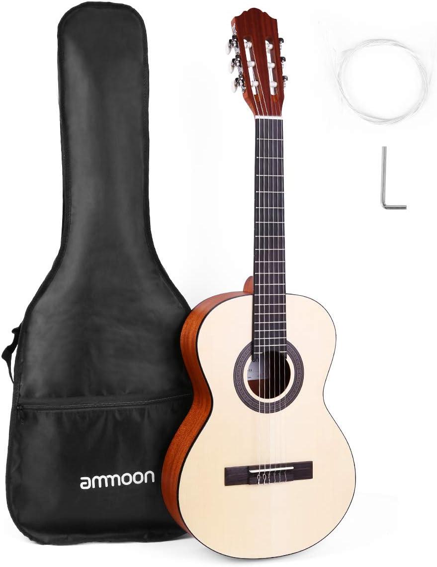 ammoon 36 Pulgadas Guitarra Clásica Acústica, Tablero de Madera de Abeto y Cuerdas de Nylon, con Bolsa, Apto para Adolescentes y Otros Principiantes (3/4)