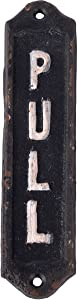 """NIKKY HOME Retro Cast Iron Vertical Pull Door Sign for Shop Home Decor 6"""", Black White"""