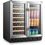 Lanbo Wine and Beverage Cooler, Compressor Under Counter Wine Cellar and Beverage Fridge, 33 Bottle and 70 Can