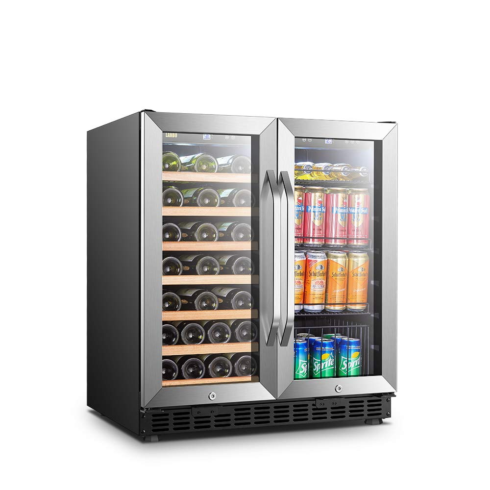 LANBO Wine and Beverage Cooler, Compressor Under Counter Wine Cellar and Beverage Fridge Combo, 33 Bottle and 70 Can