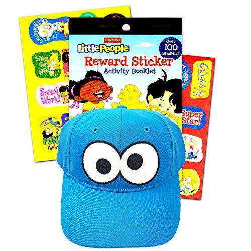 Sesame Street Cookie Monster Baseball Cap Toddler Kids -- UPF +50 Sun Protection Hat, Stickers
