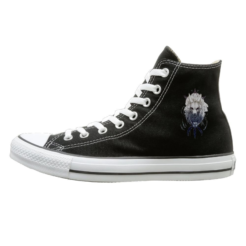 Shenigon Nine-tailed Fox Canvas Shoes High Top Design Black Sneakers Unisex Style