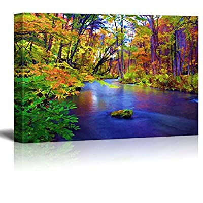 Top Quality Design, Magnificent Handicraft, Painting of a Forest During Fall Time Surrounding a Lake