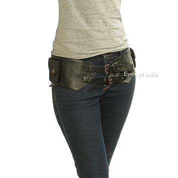 cb7ff3e493d1 Eyes of India - Black Leather Belt Hip Bum Waist Pouch Bag Utility ...