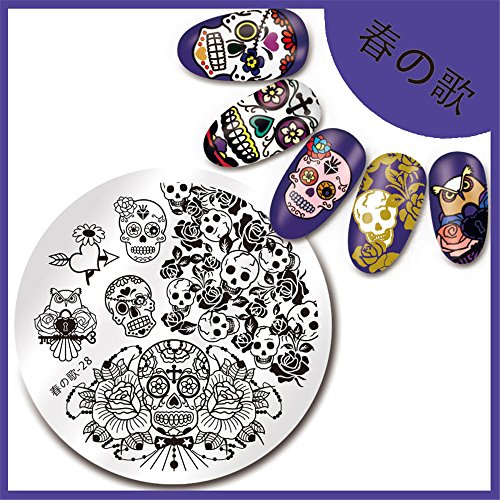 NICOLE DIARY 1Pc Stamping Plate Skull Rose Pattern - Press On Nails Skull