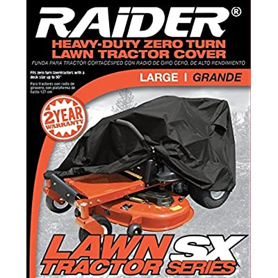 Raider 02-7730 SX-Series Large Weather and UV-Resistant Zero-Turn Lawn Tractor Storage Cover,Black: Automotive