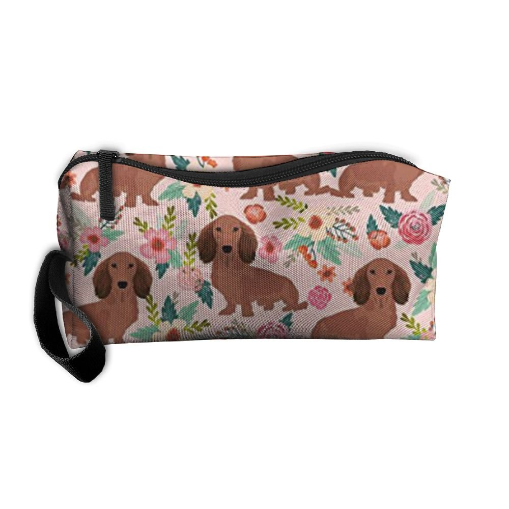 Travel Makeup Dachshunds Floral Cosmetic Pouch Makeup Travel Bag Purse Holiday Gift For Women Or Girls