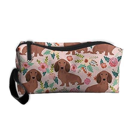 Amazon.com: Dachshunds Floral bolsa de cosméticos de ...