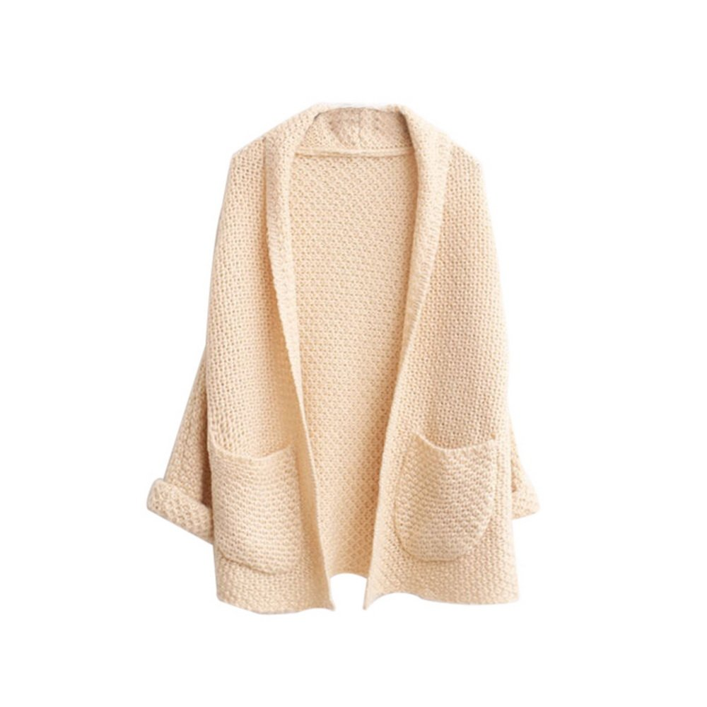 Bonboho Femme Cardigan Tricot Ouvert Loose Manche Chauve-souris Manteau Pull Gilet avec Poche Taille Unique
