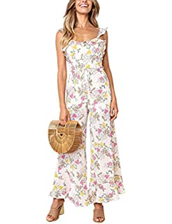 80ed318c8dfd Dongpai Women s Floral Jupmsuits Strap Sleeveless Wide Leg Pants Casual Jumpsuits  Rompers with Belt