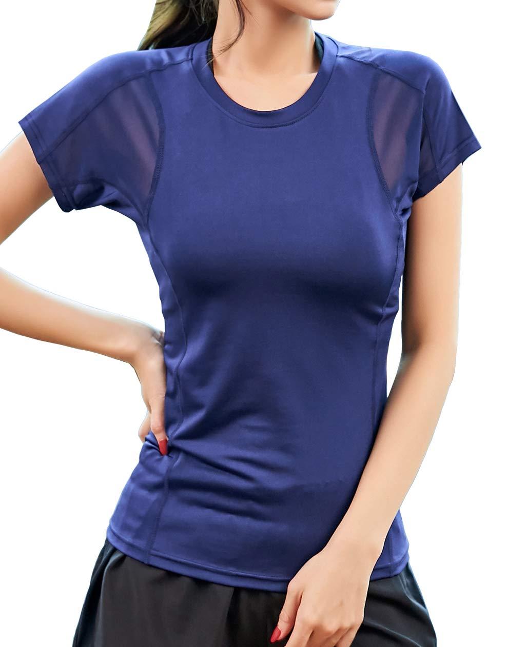 UDIY Women's Short Sleeve Athletic Tops Mesh Shirts Sports Yoga Tee Shirts, Blue, M by UDIY