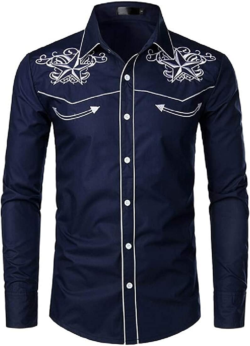 YYG Mens Embroidery Regular Fit Long Sleeve Casual Button Down Shirt