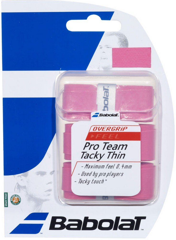 Babolat Pro Team Tacky Thin Tennis Overgrips - (Pink) by Babolat