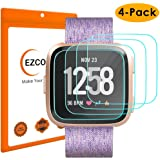 EZCO Compatible Fitbit Versa Screen Protector (4-Pack), Waterproof Tempered Glass Screen Protector Cover Saver Compatible Fitbit Versa Smart Watch Resist 99.9% Clear HD Anti-Bubble