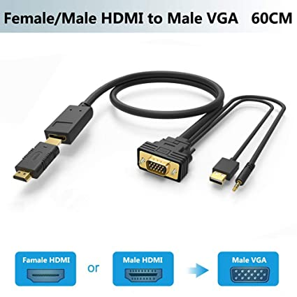 a7183843dfd60 Adaptador HDMI a VGA Cable con Audio