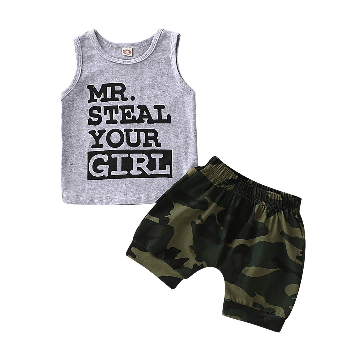 WESIDOM Toddler Infant Baby Boy Clothes,Newborn Sleeveless Vest and Shorts Pant Outfits Set for Summer