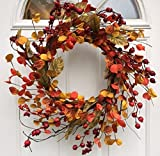 Harvest Spirits Wispy Fall Wreath 22 Inches Will Fit Storm Door Handmade with Assorted Autumn Orange Red Berries Fall Leaves Front Door Decor Thanksgiving Decoration