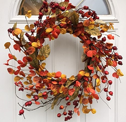 Harvest Spirits Wispy Fall Wreath 22 Inches Will Fit Storm Door Handmade with Assorted Autumn Orange Red Berries Fall Leaves Front Door Decor Thanksgiving Decoration by Wreaths For Door