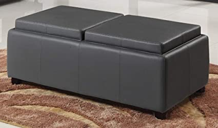 Double Tray Storage Bench   Flip Top Storage Bench   Grey
