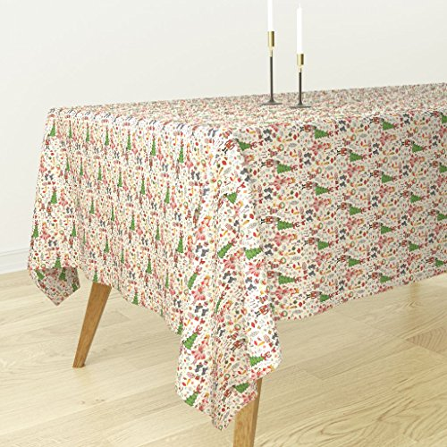 Roostery Tablecloth - Holiday Nutcracker Illustration Christmas Ballerina Candy Mice by Fable Design - Cotton Sateen Tablecloth 70 x 108