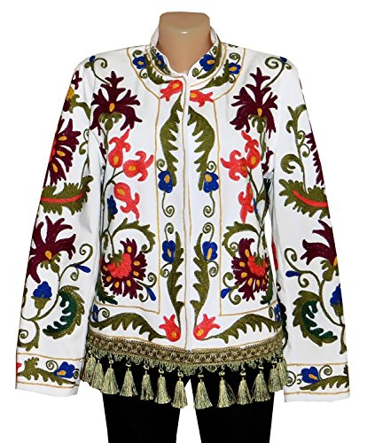 UZBEK TRADITIONAL BUKHARA OUTWEAR COSTUME JACKET SILK EMBROIDERY SUZANI A10104 by East treasures