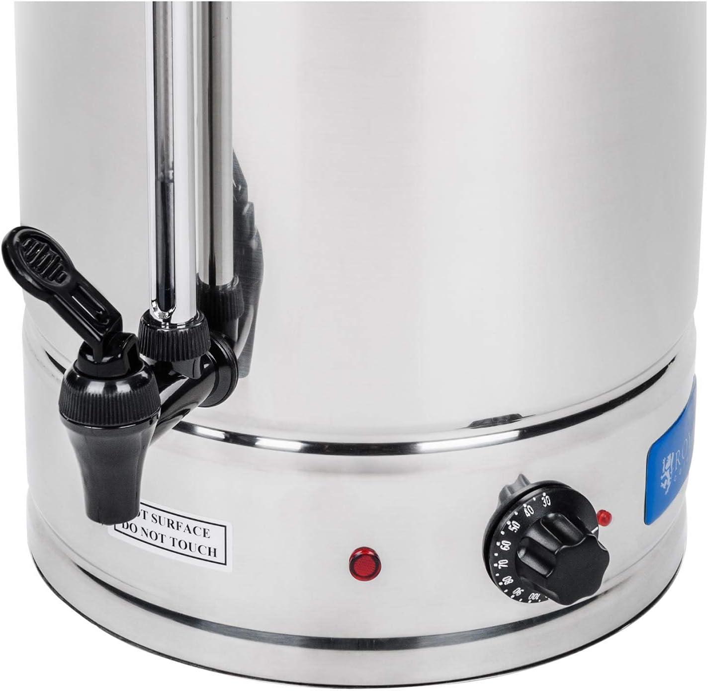 Indicator de nivel Hevidor de agua de 10 Litros 100 /°C 62 Tazas Royal Catering RCWK 10L 2000 W Grifo max