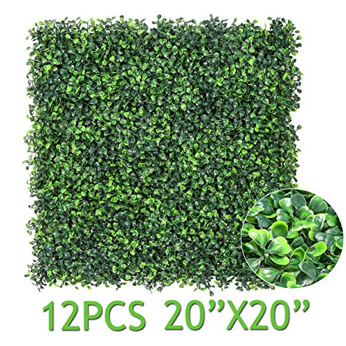 "Sunnyglade 12 Pieces 20""x20"" 32 Square Feet Artificial Boxwood Panels Topiary Hedge Plant, Privacy Hedge Screen UV Protected Suitable for Outdoor, Indoor, Garden, Fence, Backyard and Décor (Style-1)"