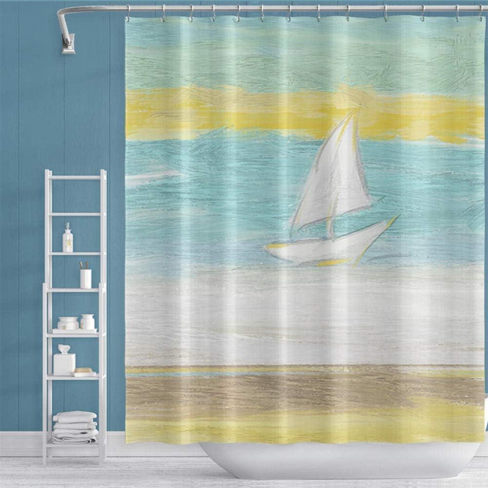 Cortinas de ducha Paisaje impreso manera natural pared de cortina que cuelga de la ducha con 12 ganchos de baño mamparas de baño a prueba de agua for baño Decoración-W150xH180cm cortina de