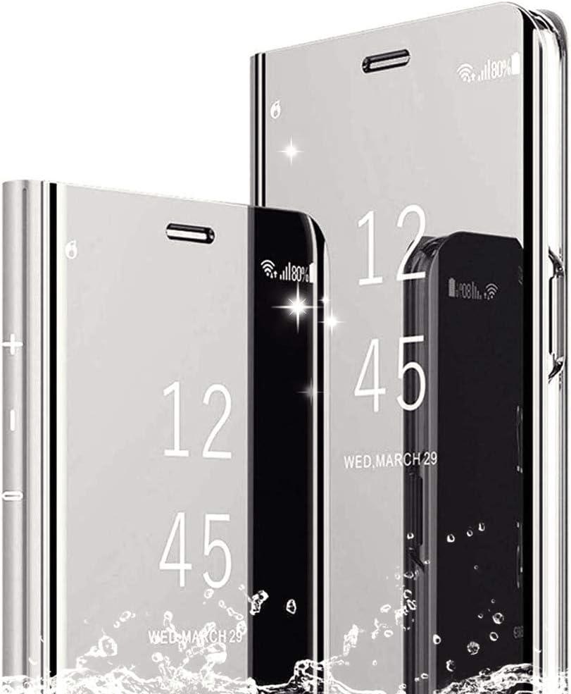 TOPOFU Funda para Xiaomi Redmi Note 9S Case Cáscara,Ultra Delgado Inteligente Espejo Brillante Funda[360° Protection][Soporte Plegable][Anti-Scratch] Flip Case Cover para Samsung S20 Plus