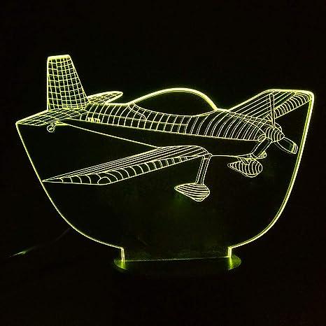 Nuevo 3D Air Plain Aircraft Lámpara Colorido Cambio Remoto ...