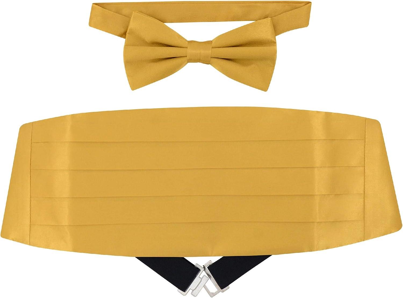 silk yellow hued cummerbund formal accessory Men/'s Vintage cummerbund