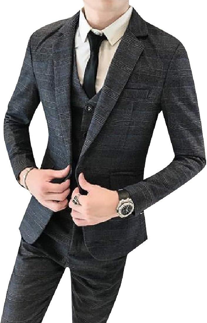 Zimaes-Men Gentleman Business Wedding Classic-Fit Jacket Vest /& Trousers