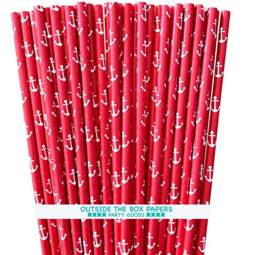 Anchor Nautical Themed Paper Straws - Red and White - 7.75 Inches - 100 Pack - Outside the Box Papers Brand