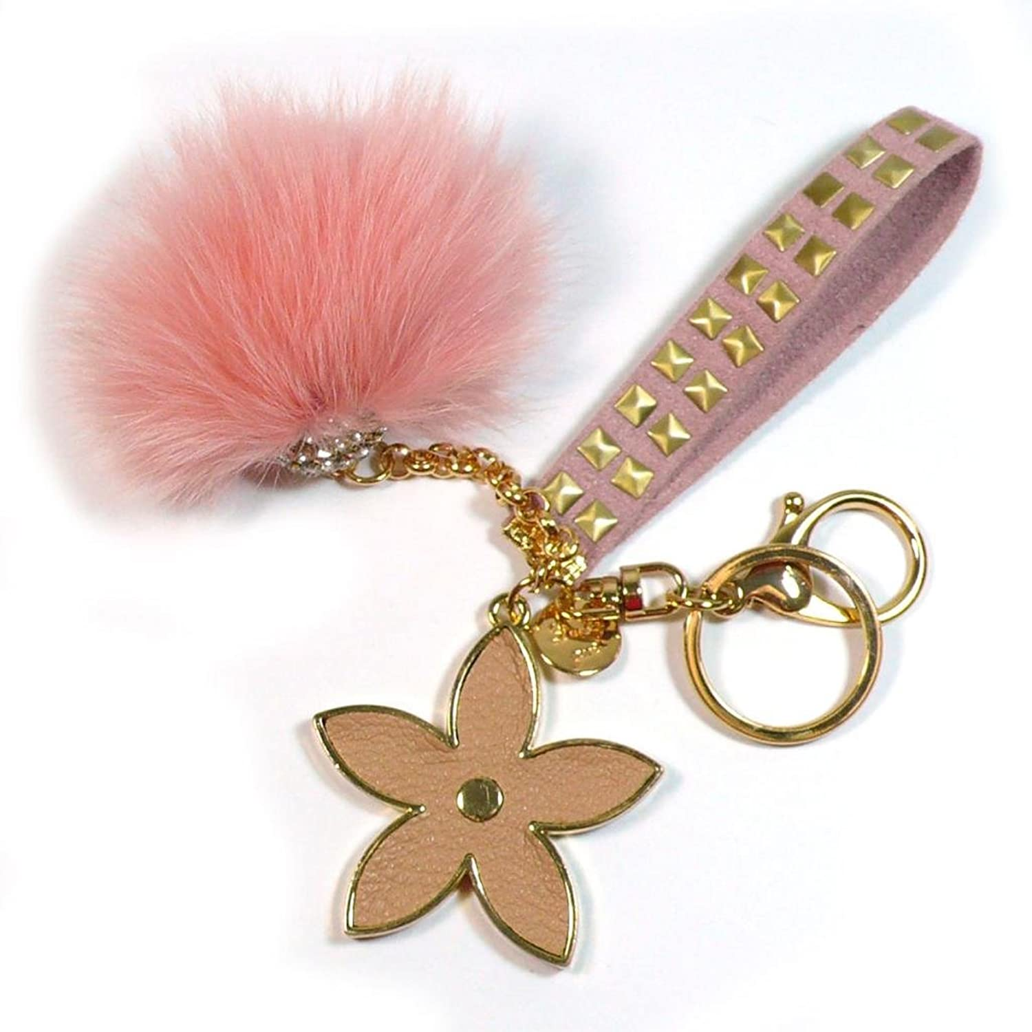 Teri's Boutique Soft Stylish Fur Ball With Flower Gold Purse Charm Key Chain Pink