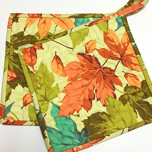 Pot holders Quilted Leaves Handmade late Summer Autumn