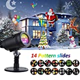 YMING Holiday Projector Lights, 14 Patterns Waterproof Decorative Landscape Lamp Rotating Indoor Outdoor Kaleidoscope Spotlight Light Show for Patio Party Bar Wedding Living Room Garden