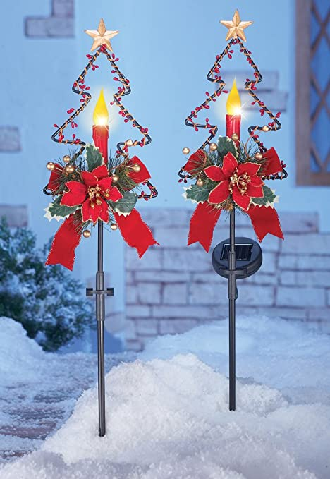 set of 2 solar power lighted candle red poinsettia flowers bow berries gold star christmas tree - Solar Christmas Tree